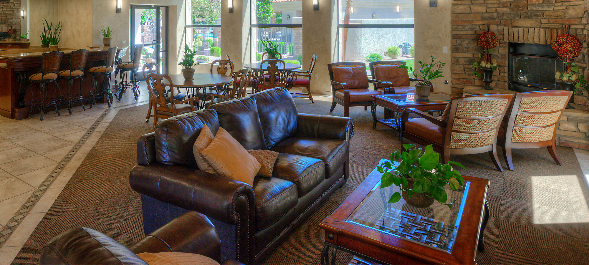 Social lounge in the clubhouse at San Prado in Glendale, Arizona