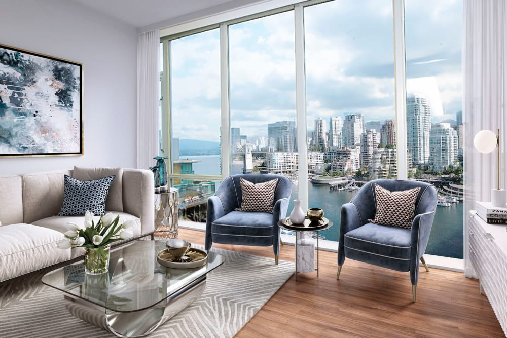 Modern living room at Bayview at Coal Harbour in Vancouver, British Columbia