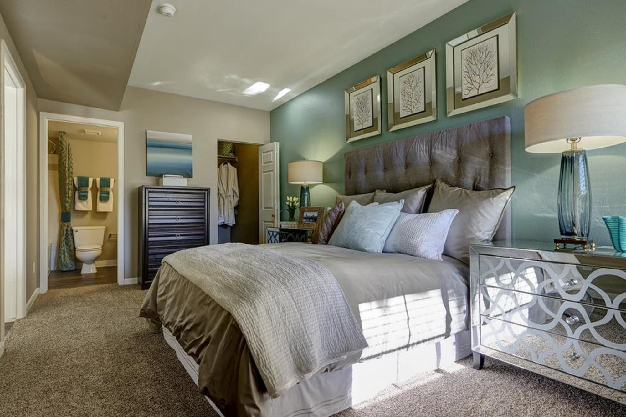Comfy bedroom at Villas at Homestead Apartments