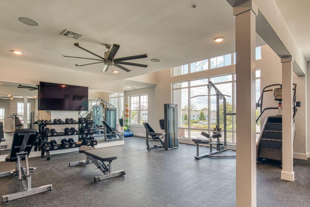 A modern community gym with treadmills at Marina Villa in Norfolk, Virginia