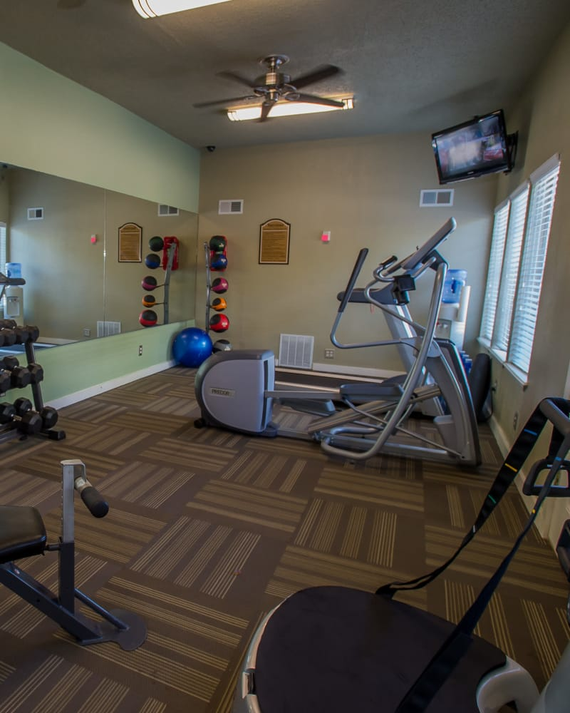 Spacious fitness center at Barcelona Apartments in Tulsa, Oklahoma