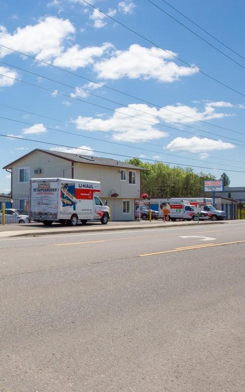 U-Haul trucks parked at Battle Ground Mini Storage in Battle Ground, Washington