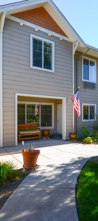 Flag at our apartments at The Commons at Union Ranch in Manteca, California