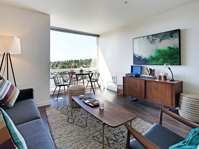 Modern living room at Rooster Apartments in Seattle, Washington