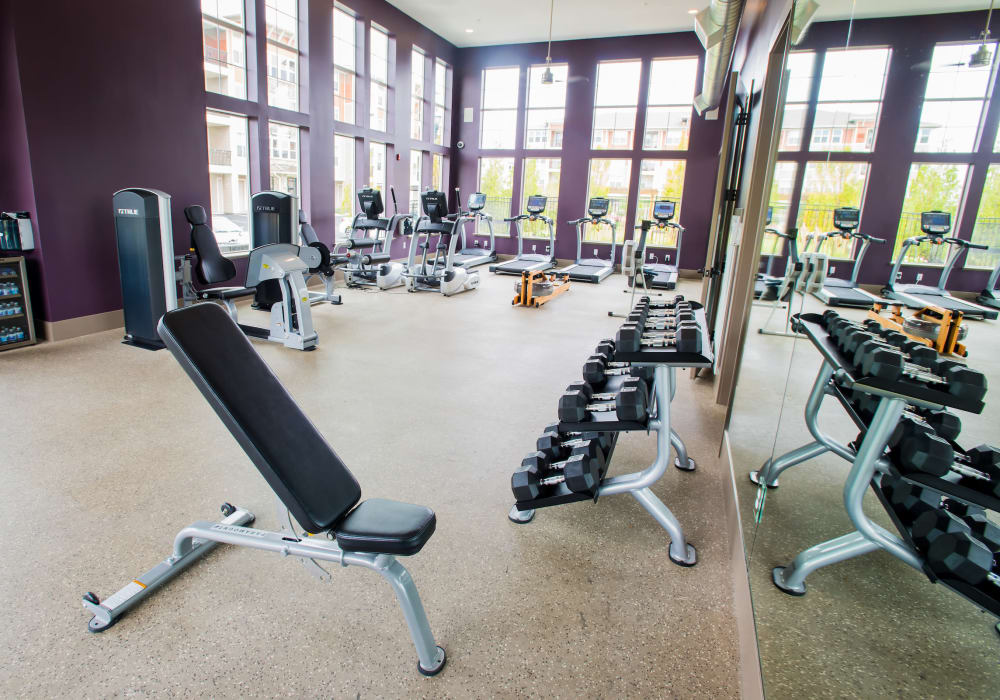 Fitness center at Altitude 970 in Kansas City, Missouri