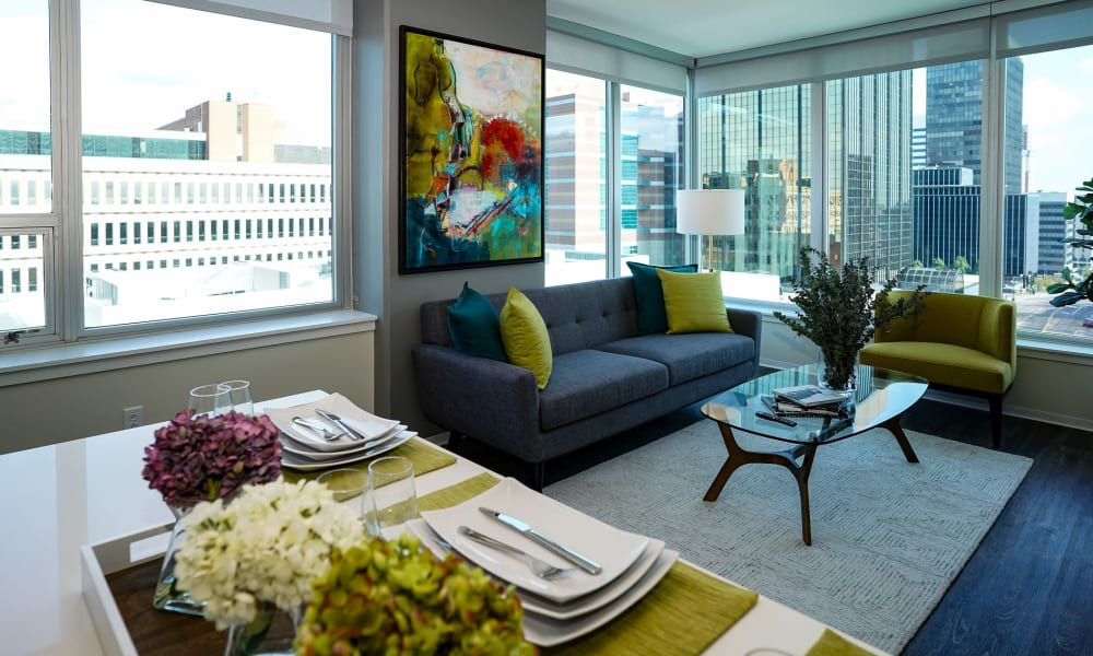 Bright, spacious living area with a view at Two Twelve Clayton in Clayton, Missouri