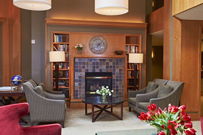 Fireside seating in All Seasons of Rochester Hills' lobby in Rochester Hills, Michigan