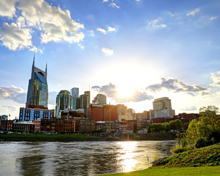 Gorgeous view of downtown from across the river near Audubon Park in Nashville, Tennessee
