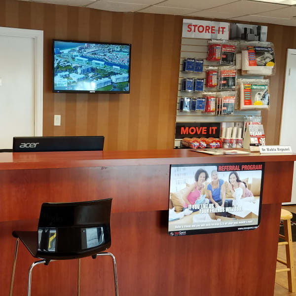 Boxes and moving supplies available in the leasing office at StorQuest Self Storage in Tampa, Florida