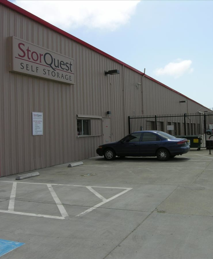 The exterior of the main entrance at StorQuest Self Storage in Richmond, California