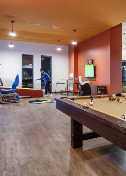 Game room at RISE on Apache in Tempe, Arizona