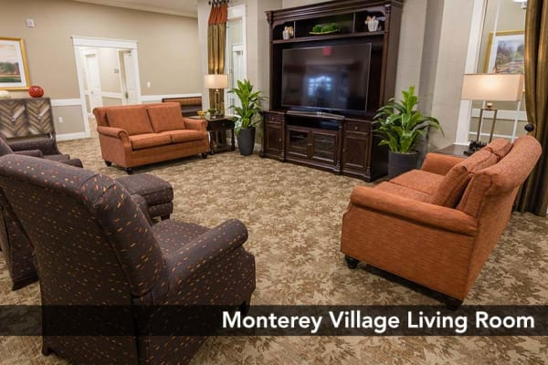 Open Living room with the best amenities at Monterey Village Senior Living in Lawrence, Kansas