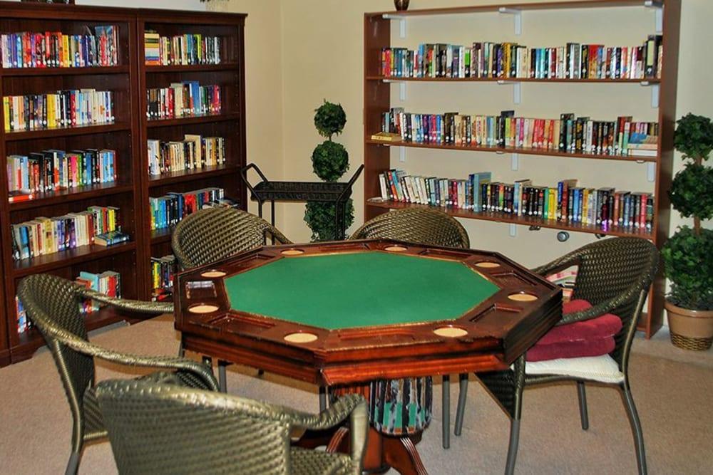 Spacious library at Roseville Commons Senior Living in Roseville, California