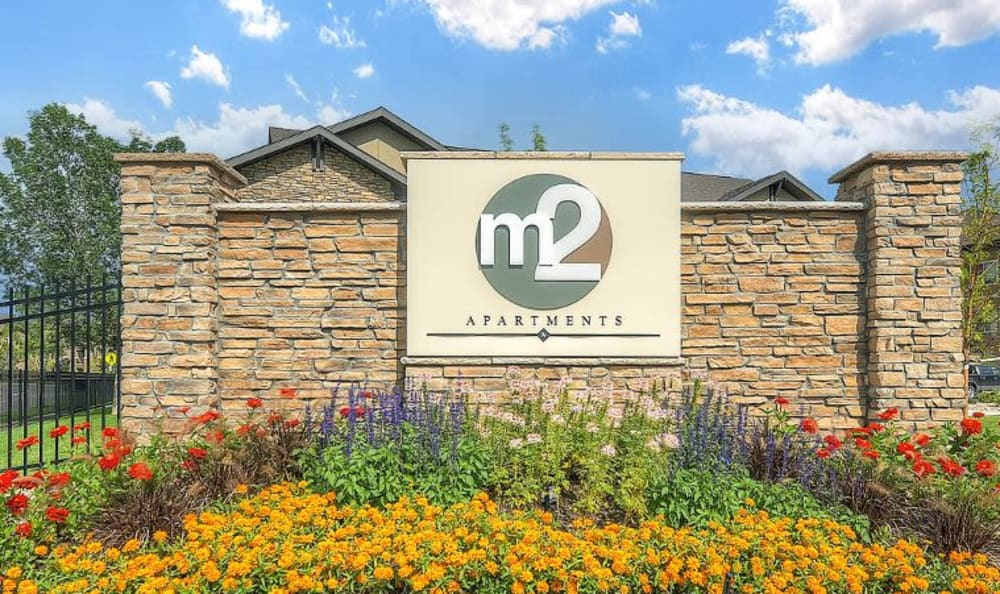monument sign of M2 Apartments in Denver, CO