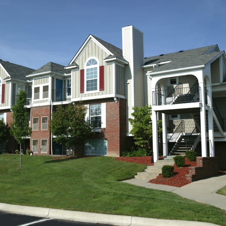 Exterior view of apartments at Citation Club in Farmington Hills, Michigan