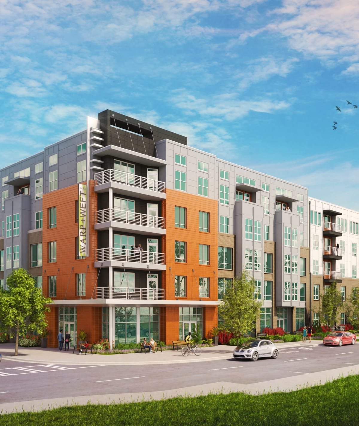 Exterior rendering of Alta Warp + Weft in Charlotte, North Carolina