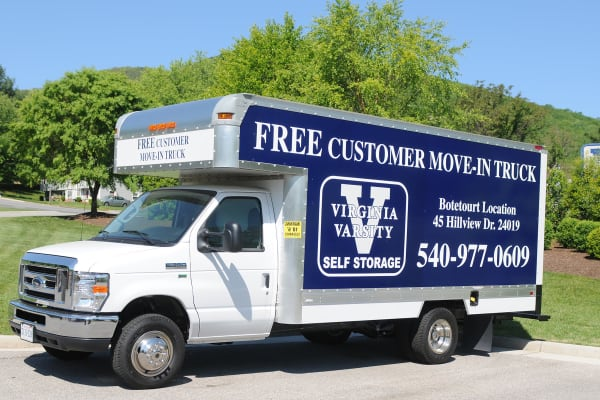 Free moving truck at Virginia Varsity Self Storage in Roanoke, Virginia