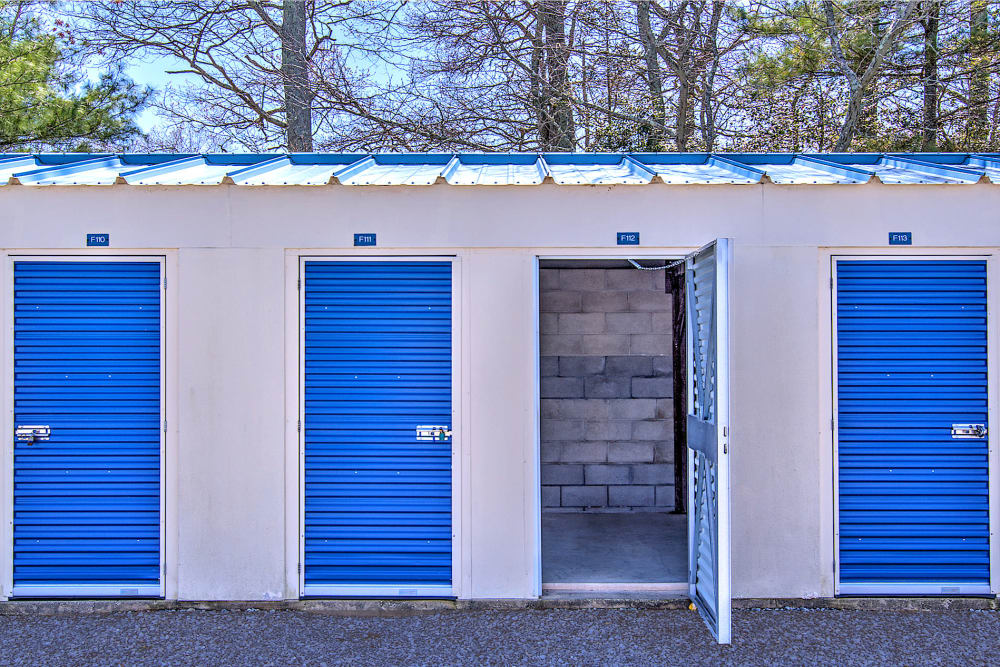 Outdoor storage units at A Safe Keeping Self Storage in North Cape May, New Jersey