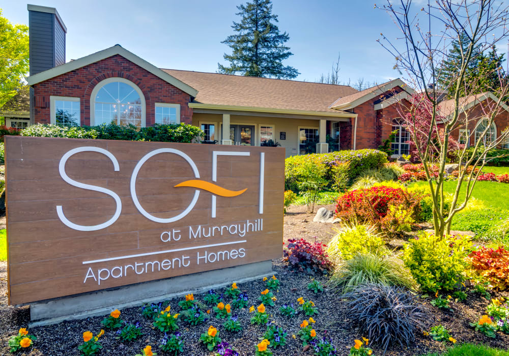 Our monument sign surrounded by professionally maintained landscaping at Sofi at Murrayhill in Beaverton, Oregon