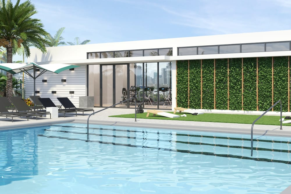 Luxury pool area at Yard 8 in Midtown Miami, Florida