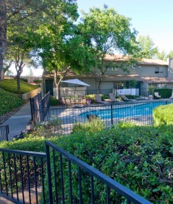 Pool view at Auburn Townhomes in Auburn, California