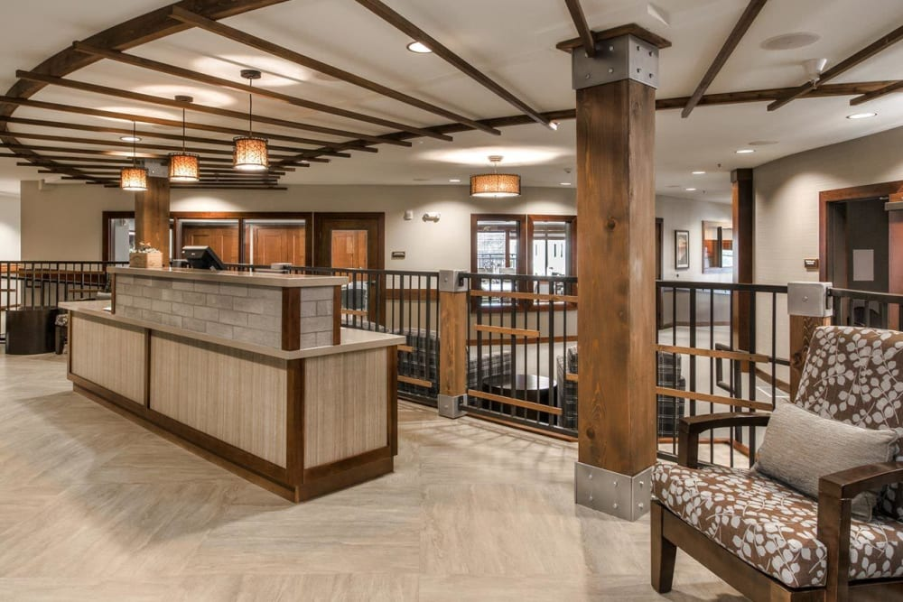 Delightful lobby and entrance at The Springs at Carman Oaks in Lake Oswego, Oregon