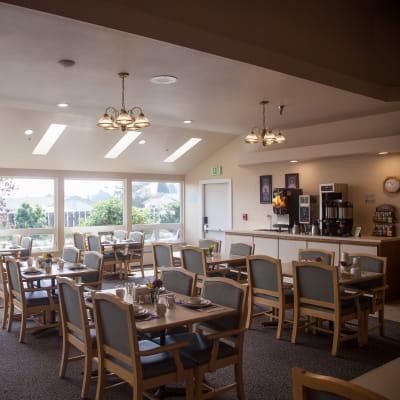 Community dining room at Cap Sante Court Retirement Community in Anacortes, Washington