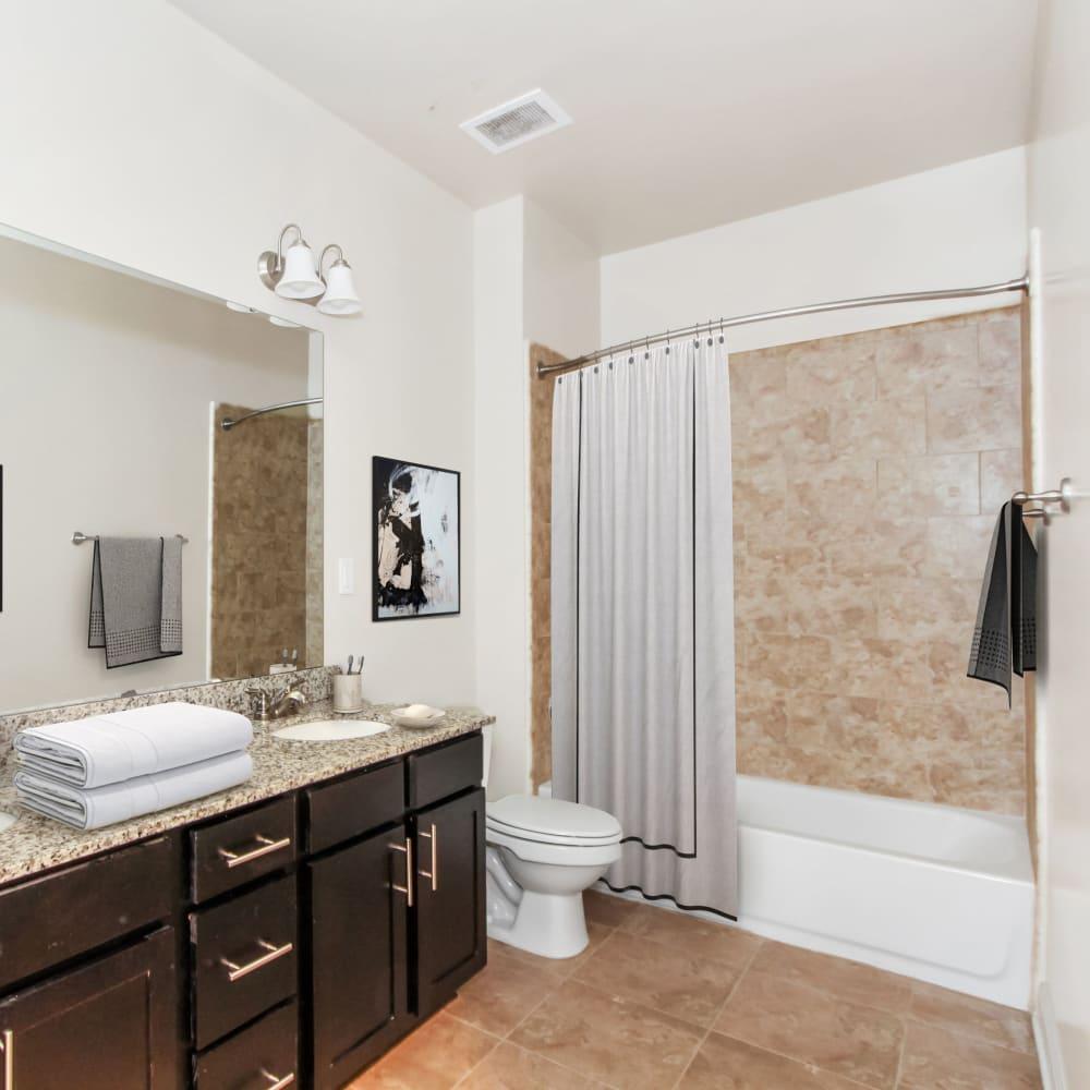 Model bathroom at 401 Oberlin in Raleigh, North Carolina