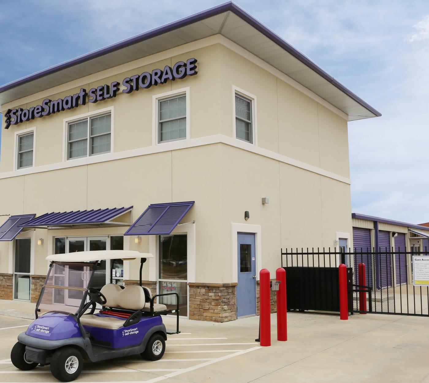 Entrance gate at StoreSmart Self-Storage in Warner Robins, Georgia