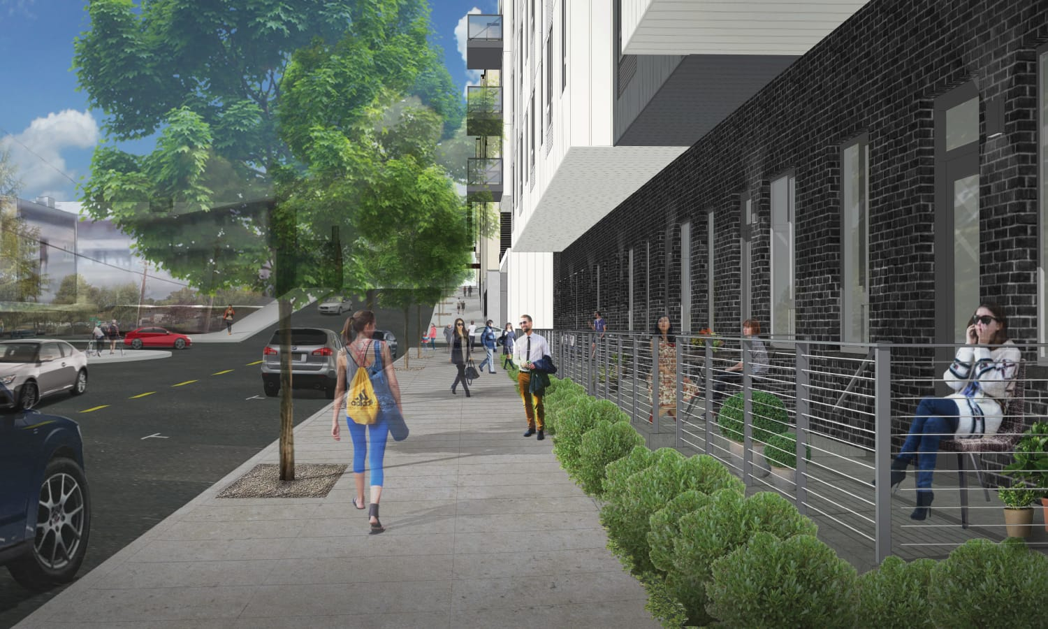 Exterior rendering of ground view at Grant Park Village - Quimby looking north on 32nd in Portland, OR