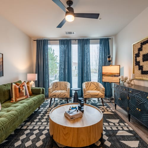 Floor-to-ceiling windows with amazing city views in a model home at The Langford in Dallas, Texas