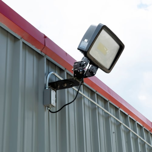 Bright exterior lighting at Red Dot Storage in Antioch, Illinois