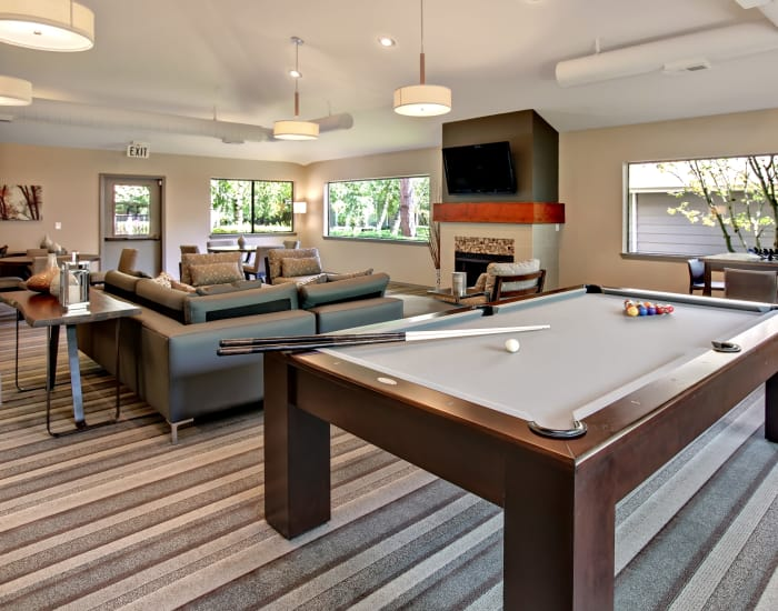 Billiard table and community area at Jasper Place in Beaverton