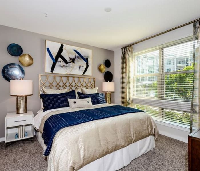 Beautifully decorated model bedroom at Alta at Jonquil in Smyrna, Georgia
