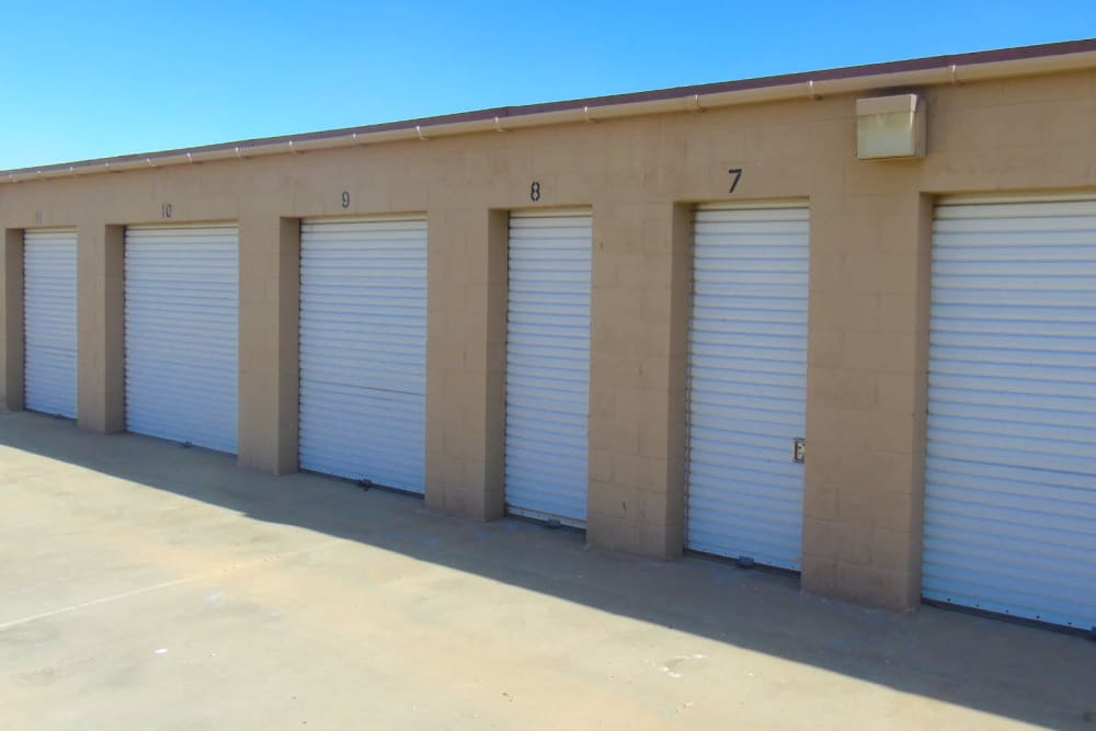 Outdoor storage units at A-American Self Storage in Palmdale, California