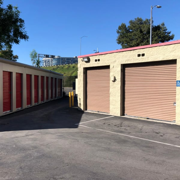 Outdoor storage units at StorQuest Self Storage in Los Angeles, California