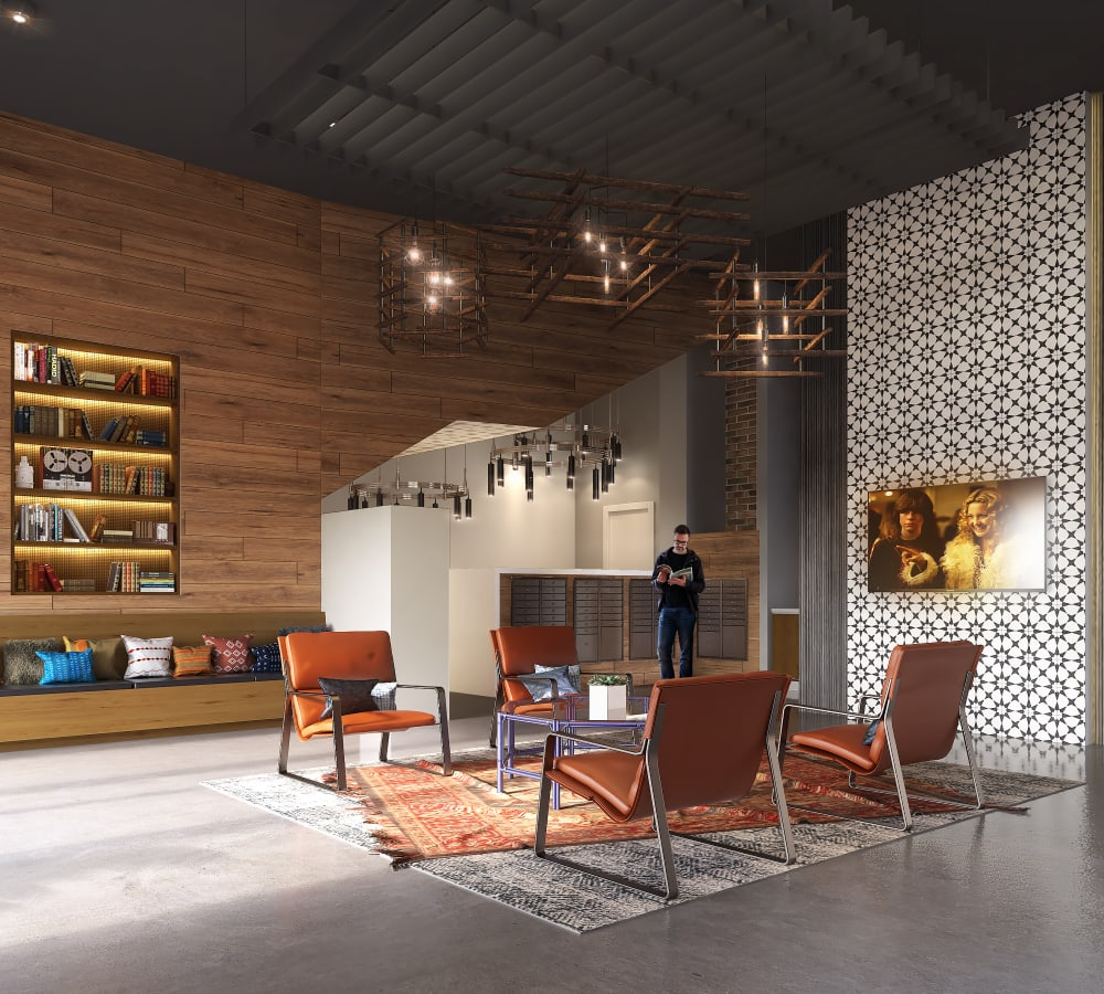 Interior rendering of 4th + J in San Diego, California