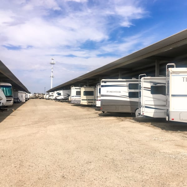 RVs parked at StorQuest Self Storage in Arvada, Colorado