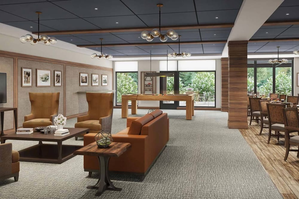 Activity lounge with lots of seating at The Springs at Lake Oswego in Lake Oswego, Oregon