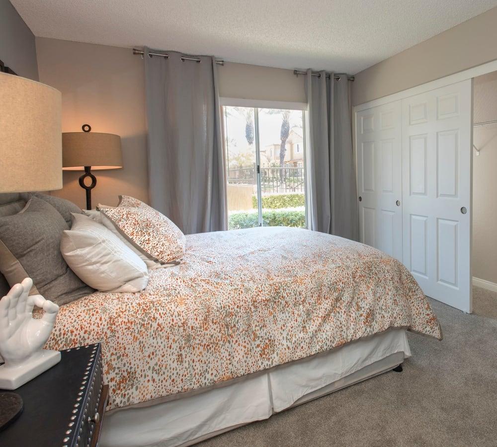 Main bedroom with a large closet at Hidden Hills Condominium Rentals in Laguna Niguel, California