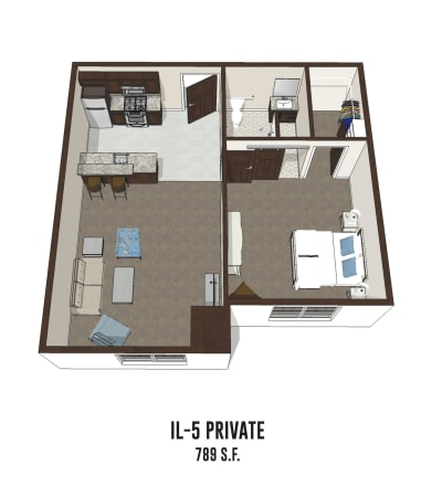Independent living private room 5 is 789 square feet at Smith's Mill Health Campus in New Albany, Ohio.