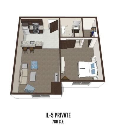 Independent living private room 5 is 789 square feet at Pickerington in Pickerington, Ohio.