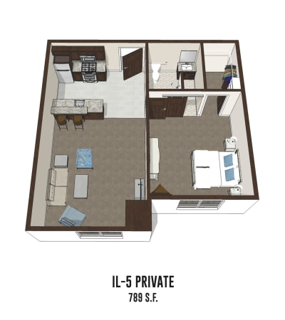 Independent living private room 5 is 789 square feet at Mt Washington in Mt Washington, Kentucky.