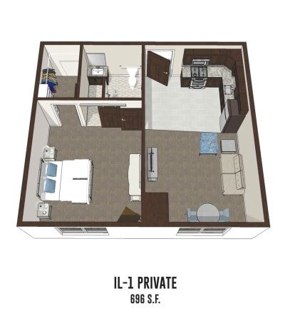 Independent living private room 1 is 696 square feet at Hilliard in Hilliard, Ohio.