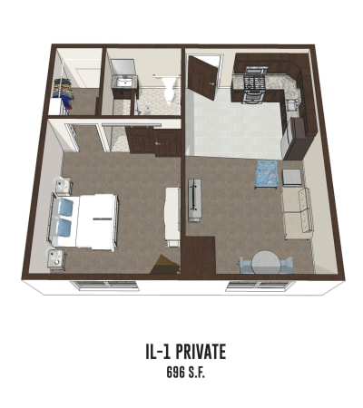 Independent living private room 1 is 696 square feet at Byron Center in Byron Center, Michigan.