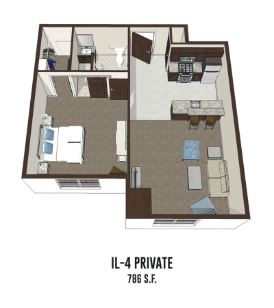 Independent living private room 4 is 786 square feet at Smith's Mill Health Campus in New Albany, Ohio.