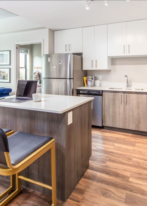 Fully equipped kitchen with stainless steel appliances at RISE at State College in State College, Pennsylvania