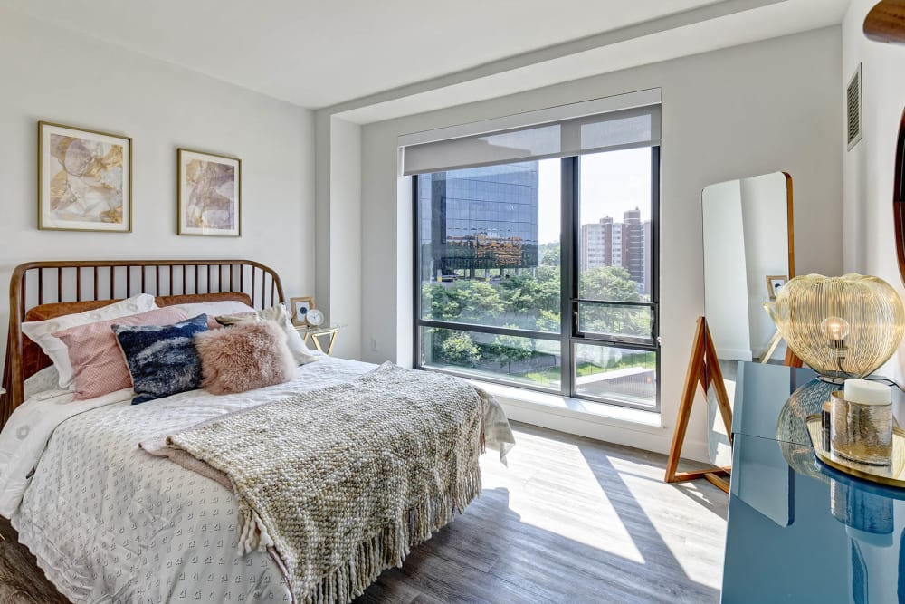 Spacious bedroom at Vela on the Park in Stamford, Connecticut