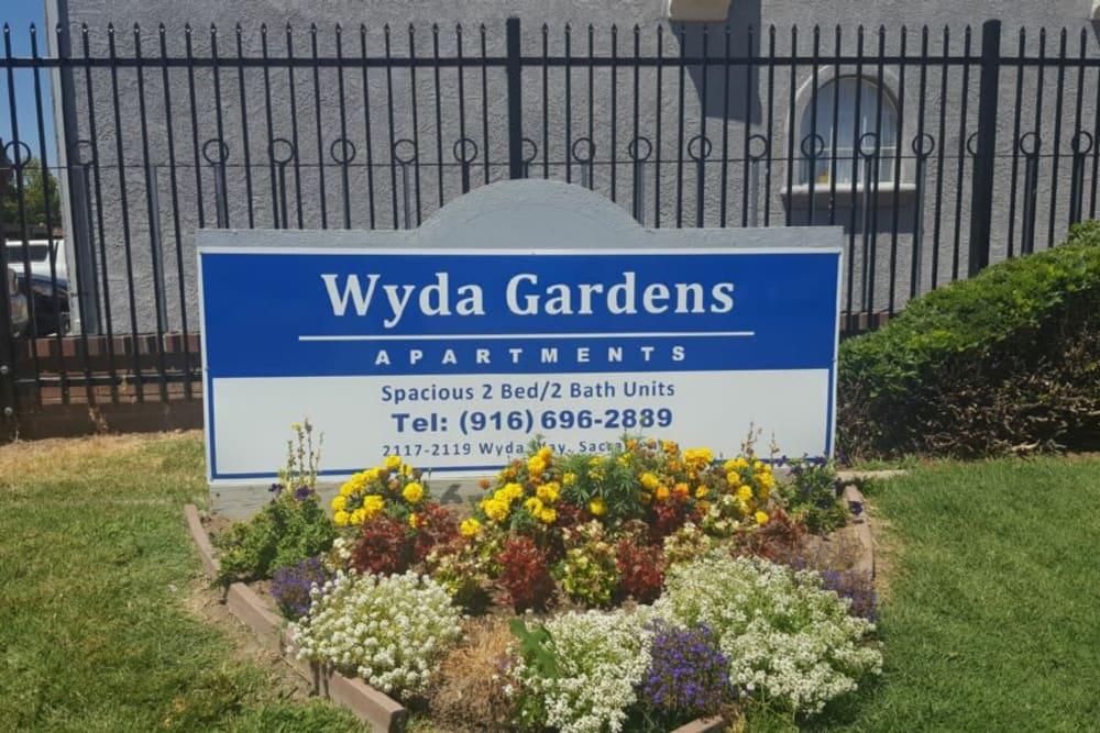 Sign at Wyda Garden Apartments in Sacramento, California