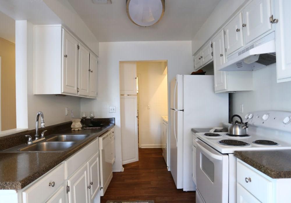 Kitchen layout at Cornerstone Apartments in Huntsville, Texas